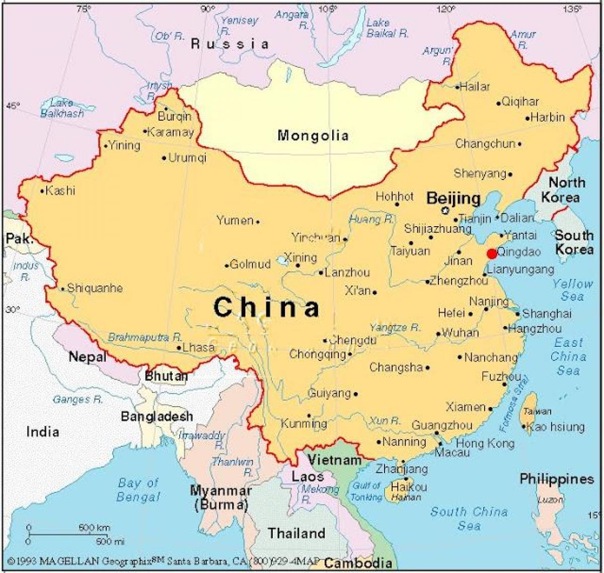 Kinas Huvudstad Karta Karta Over Huvudstaden I Kina China
